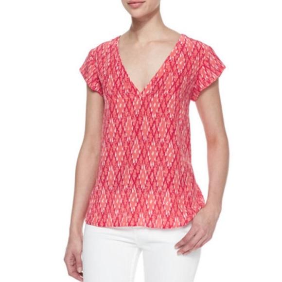 Joie Tops - Joie Rubina Ikat Print Silk Cap Sleeve T-shirt Top